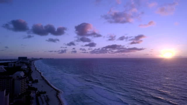 aerial view:cancun beach panorama aerial view. - cancun stock videos & royalty-free footage