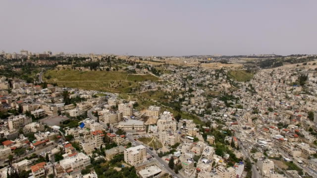 Aerial view-East Jerusalem- Wadi Hilweh and Silwan Arab villages ,old city of Jerusalem, and Temple mount