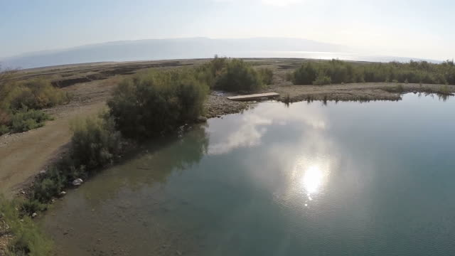 Aerial view,Einot Tzukim nature reserve on the northwestern shore of the Dead Sea, Judea Desert, Israel