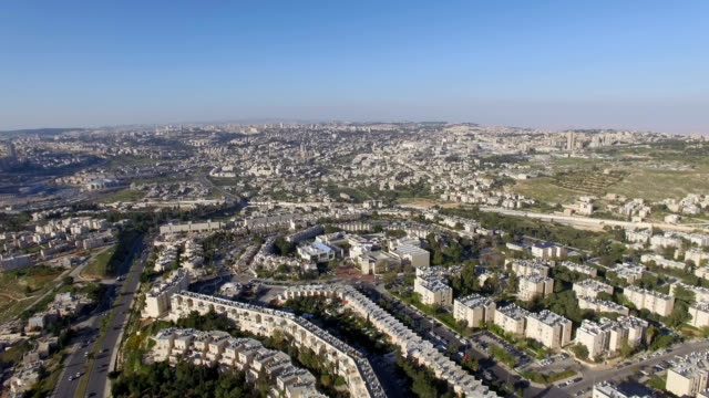 aerial view/gilo -an israeli settlement and neighbourhood in south-western east jerusalem - human settlement stock videos & royalty-free footage