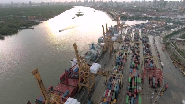 aerial view:industrial port with containers ship - mercanzia video stock e b–roll