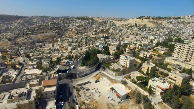 Aerial view-Israel Defence Barrier Wall near Gilo and Beit Jala, Jerusalem