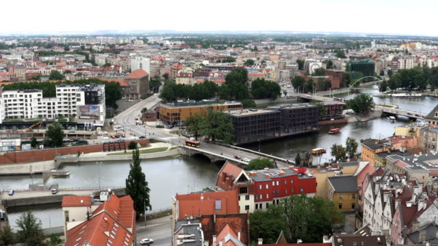 aerial view:many bridge in Wroclaw city, Poland