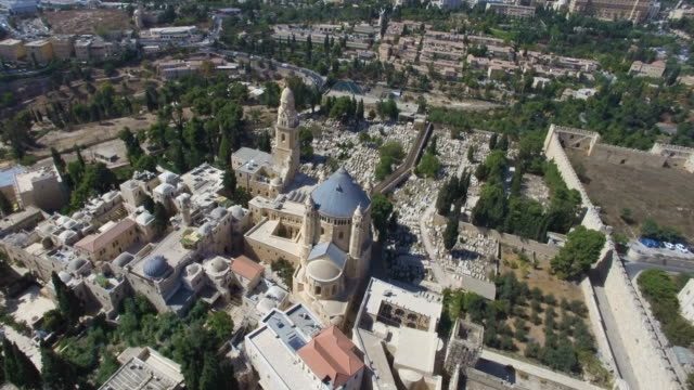 Aerial view-Mount Zion outside the walls of the Old City of Jerusalem