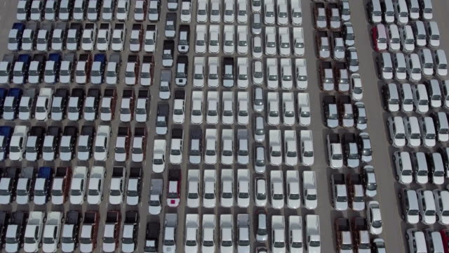 aerial view:new cars for sale - parking stock videos & royalty-free footage