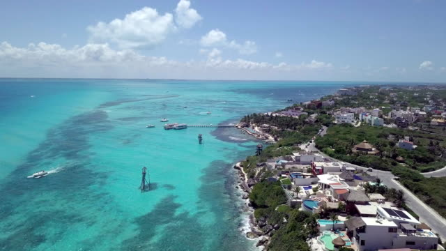 aerial view:perfect tropical beach in isla mujeres - peninsula stock videos and b-roll footage