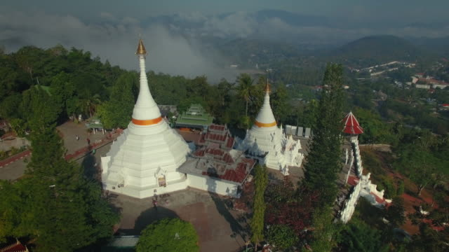 aerial view,phra that doi kong moo temple,maehongson province - mae hong son province stock videos and b-roll footage