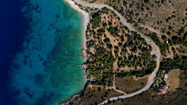 aerial view/ruins of 'knidos' or 'cnidus' an ancient city in tekir burnu peninsula/datca town,mugla province - mugla province stock videos & royalty-free footage