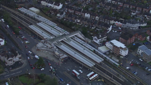 aerial views at twilight of horsham station in west sussex during industrial action, january 2017, uk. - strike industrial action stock videos & royalty-free footage