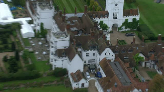 Aerial Views circling around The Danesfield House Hotel Spa in Marlow where George Clooney is to host his wedding reception