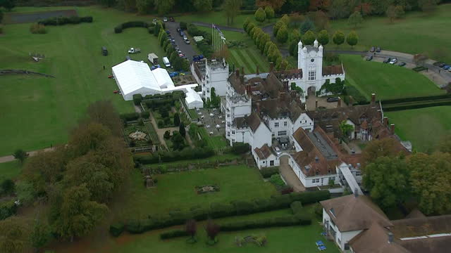 aerial views circling around the danesfield house hotel & spa in marlow where george clooney is to host his wedding reception - george clooney stock videos & royalty-free footage
