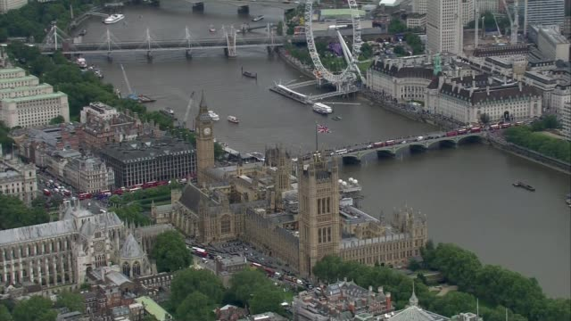 Buckingham Palace Downing Street and Whitehall buildings AERIAL AIR VIEW Houses of Parliament