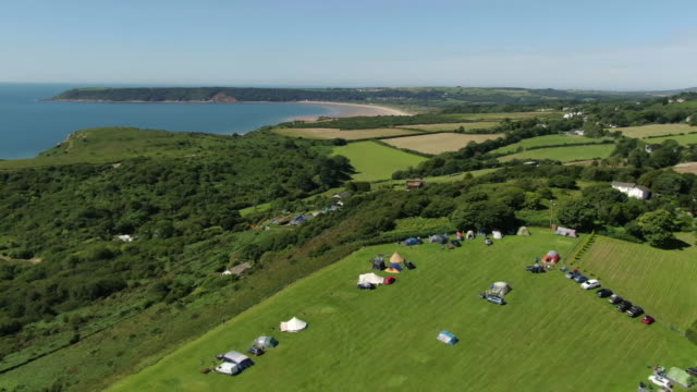 aerial views of a camp site - camping stock videos & royalty-free footage