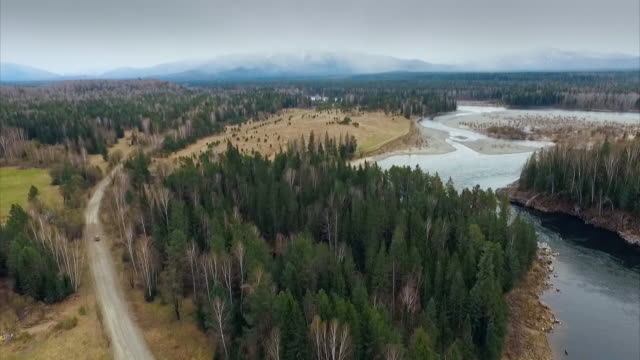 aerial views of a car driving through a forest next to a river in siberia, russia. - boreal forest stock videos & royalty-free footage