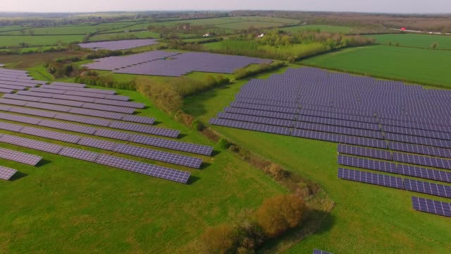 Aerial views of a large solar energy generation farm in Northamptonshire England UK