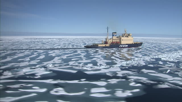 CLEAN Aerial views of a Quark Expeditions Fesco Icebreaker moving through ice floes in the North West passage on August 25 2007 in Cambridge Bay...