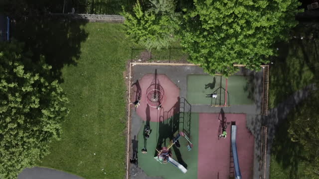 aerial views of a residential district in bolton - tilt up stock videos & royalty-free footage