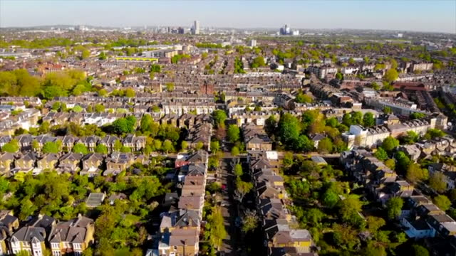 aerial views of a residential district in london - aircraft point of view stock videos & royalty-free footage