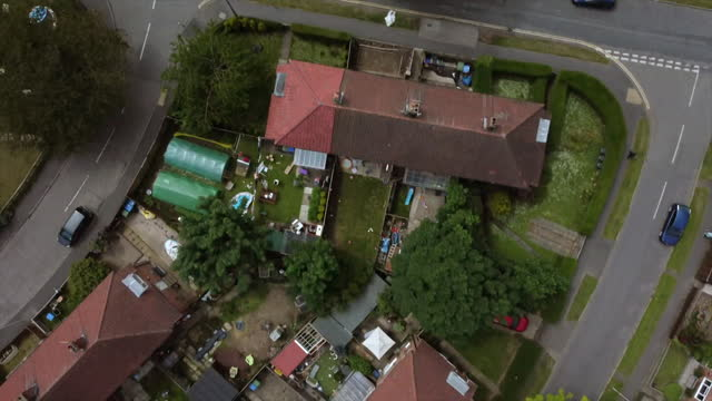 aerial views of a residential district in scarborough - district stock videos & royalty-free footage