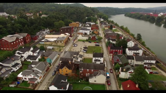 Aerial views of a small town in Pennsylvania