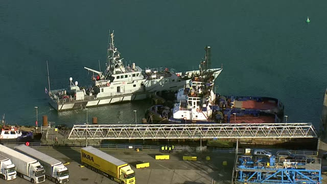 aerial views of a uk border force cutter in the port of dover - english channel stock videos & royalty-free footage