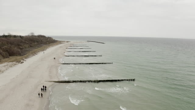 aerial views of ahrenshoop beach at the baltic sea - baltic sea stock videos and b-roll footage