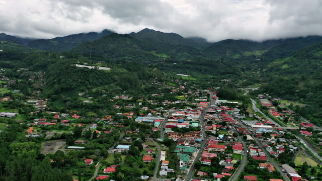 aerial views of boquete town in chiriqui province of panama - panama stock videos & royalty-free footage