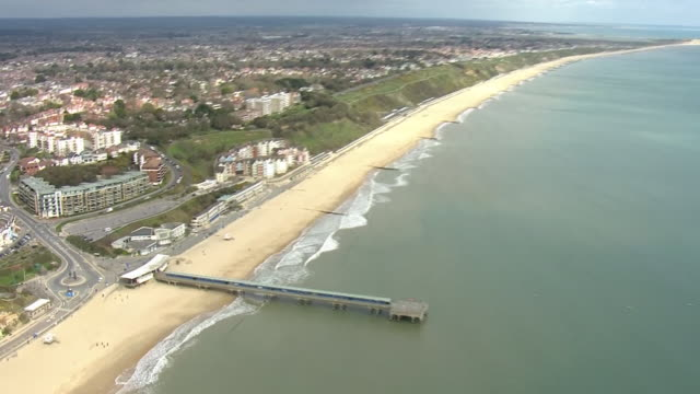 aerial views of bournemouth, boscombe, empty beach and streets, during the coronavirus epidemic on 30th march 2020 bournemouth, united kingdom. - bournemouth england stock videos & royalty-free footage