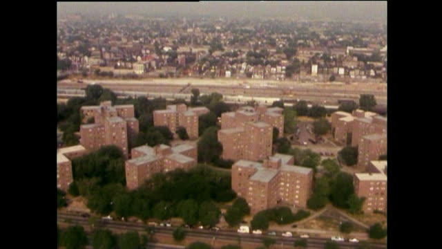 aerial views of cabrini green housing projects; chicago, 1989 - council flat stock videos & royalty-free footage