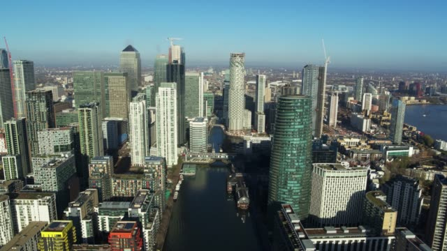 aerial views of canary wharf in central london, united kingdom on may 6, 2020. - aerial view stock videos & royalty-free footage