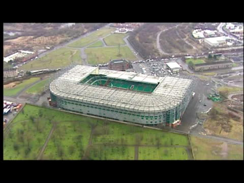 Aerial views of Celtic Park stadium home ground of Celtic Football Club Parkhead Glasgow Aerial views of Celtic shirts and scarves left in memory of...
