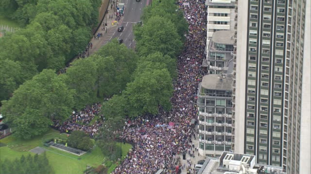 Aerial views of crowds in London protesting against Brexit