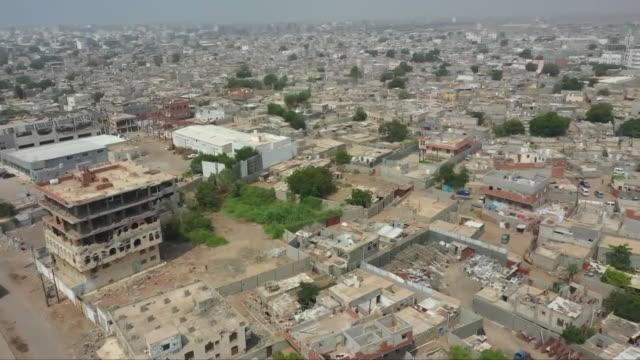 aerial views of destruction in the city of aden, yemen - aden stock videos & royalty-free footage