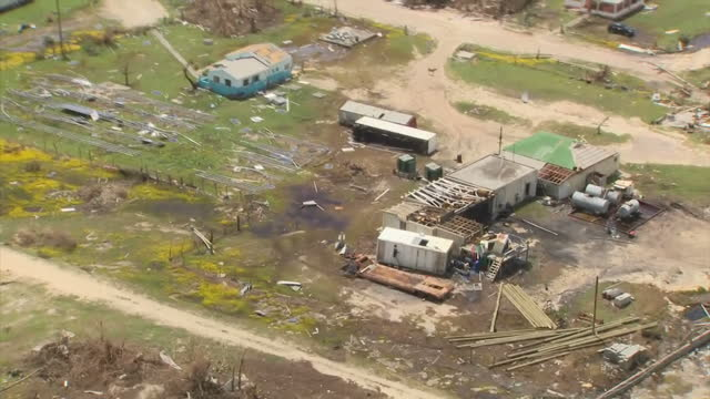 Aerial views of Destruction left in the wake of Hurricane Irma destroyed houses and buildings flattened on 11 September 2017 Barbuda