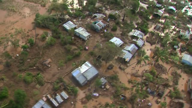 aerial views of devastation caused by flooding after cyclone idai in buzi, mozambique - vortex stock videos & royalty-free footage