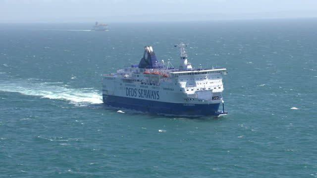 Aerial views of DFDS Seaways ferry sailing in the English Channel on October 20 2013 in Dover England