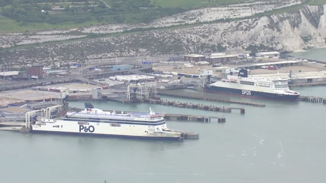 aerial views of dover coastline and docked cruise ships and ferries on the 8th june 2020 in dover, england - moored stock videos & royalty-free footage