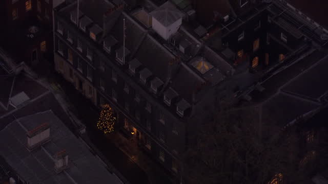 aerial views of downing street during christmas - politics stock videos & royalty-free footage