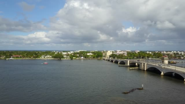 aerial views of downtown west palm beach, florida - waterfront stock videos & royalty-free footage
