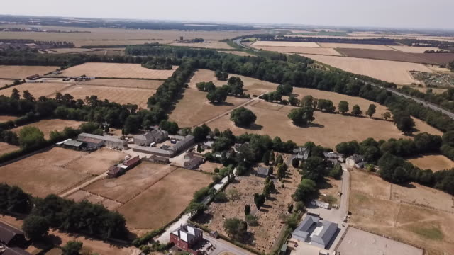 aerial views of dried out, parched land in suffolk during the uk heatwave - イーストアングリア点の映像素材/bロール