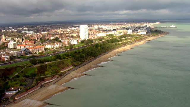 Aerial views of Eastbourne Coastline beach and Pier on 21st February 2018 Eastbourne England