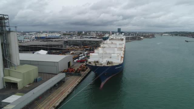 aerial views of empty southampton port on an overcast day, in southampton, hampshire, uk on wednesday, september 30, 2020. - horizon stock videos & royalty-free footage
