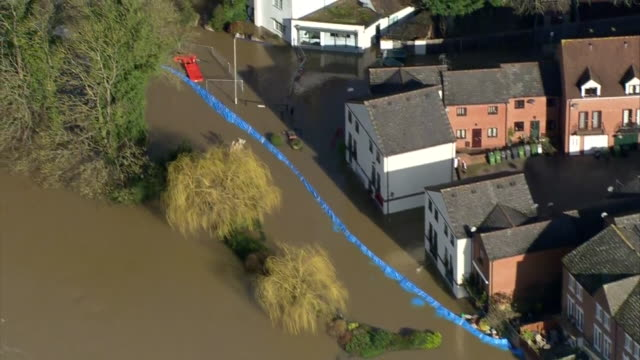 aerial views of flooding in bewdley - riverbank stock videos & royalty-free footage