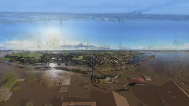 aerial views of flooding in east yorkshire - riverbank stock videos & royalty-free footage