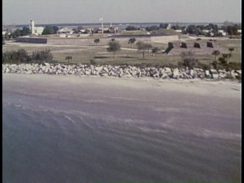 1977 MONTAGE Aerial views of Fort Moultrie / South Carolina, United States