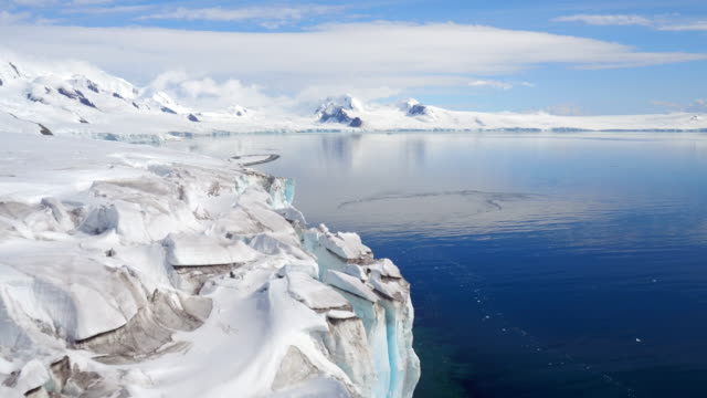 vídeos de stock, filmes e b-roll de aerial views of glaciers on livingston island, antarctica - antártica