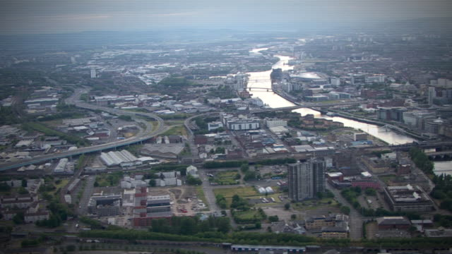 aerial views of glasgow - aircraft point of view stock videos & royalty-free footage