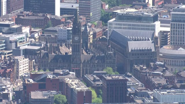 aerial views of greater manchester - clock tower stock videos & royalty-free footage