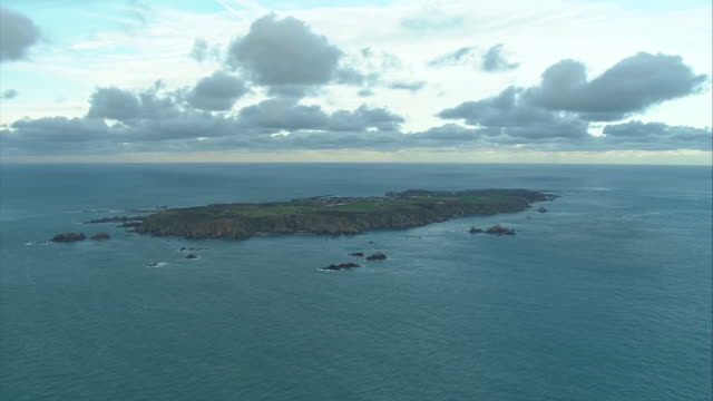 Aerial views of Guernsey one of the Channel Islands in the English Channel