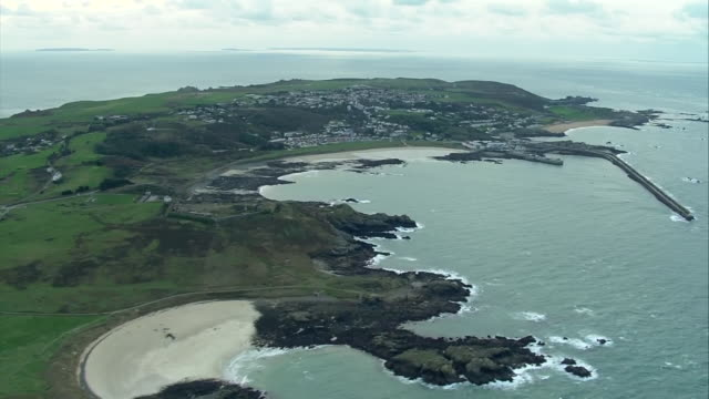 aerial views of guernsey, one of the channel islands in the english channel. - guernsey stock videos & royalty-free footage